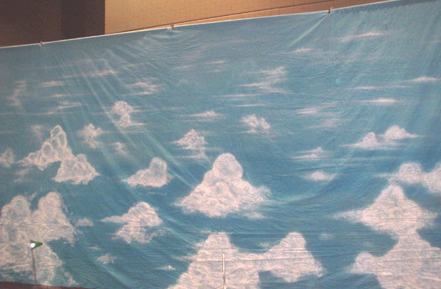 Where to find BACKDROP SKY w CLOUDS 50 w x 14  TALL in Ft. Wayne