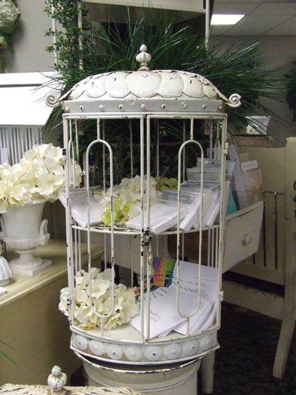 Where to find CARD HOLDER BIRD CAGE METAL IVORY 30 in Ft. Wayne